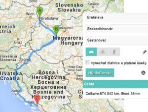 trasa Bratislava - Brela